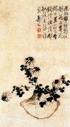 边寿民《歪瓶依菊图》